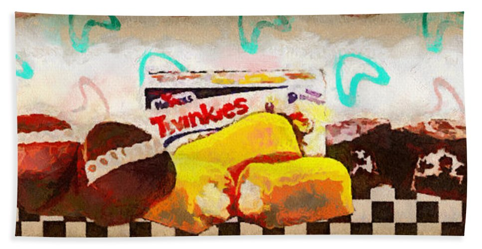 Art Hand Towel featuring the digital art Twinkies Cupcakes Ding Dongs Gone Forever by Paulette B Wright