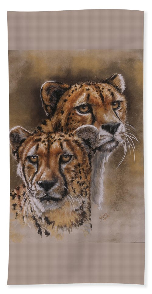 Cheetah Bath Towel featuring the pastel Twins by Barbara Keith