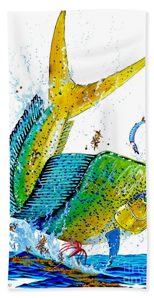 Mahi Mahi Bath Sheet featuring the painting Twisted Mahi by Carey Chen