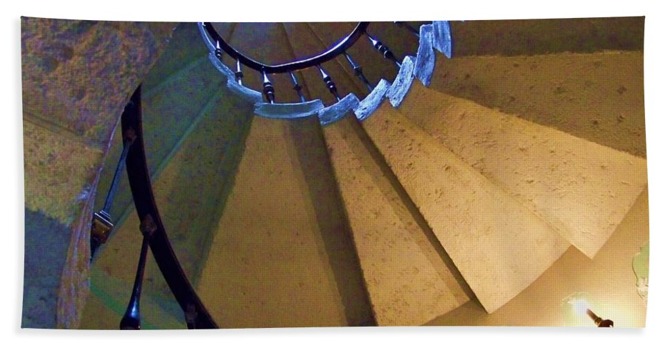 Stairs Hand Towel featuring the photograph twisted stairs Vizcaya by Chuck Hicks