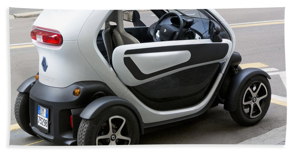 Horizontal Bath Sheet featuring the photograph Twizy Rental Electric Car Side And Back Milan Italy by Sally Rockefeller