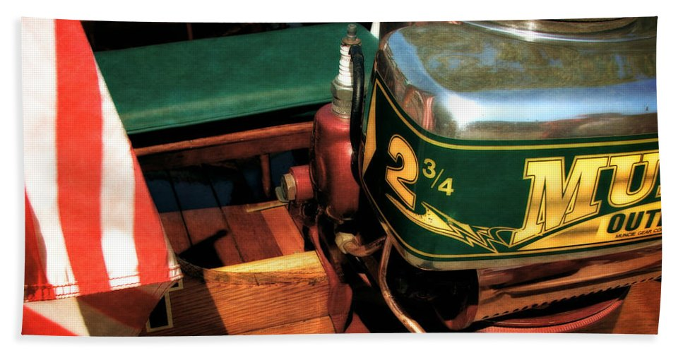 Muncie Gear Company Hand Towel featuring the photograph Two And Three Quarters Hp Muncie Outboard Motor by Michelle Calkins