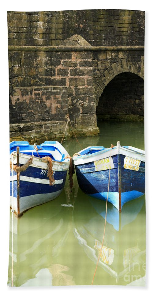 Africa Bath Sheet featuring the photograph Two Blue Fishing Boats by Deborah Benbrook