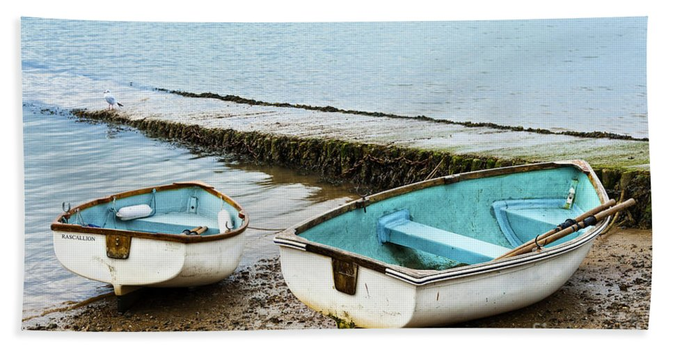 Anchor Bath Sheet featuring the photograph Two Boats by Svetlana Sewell