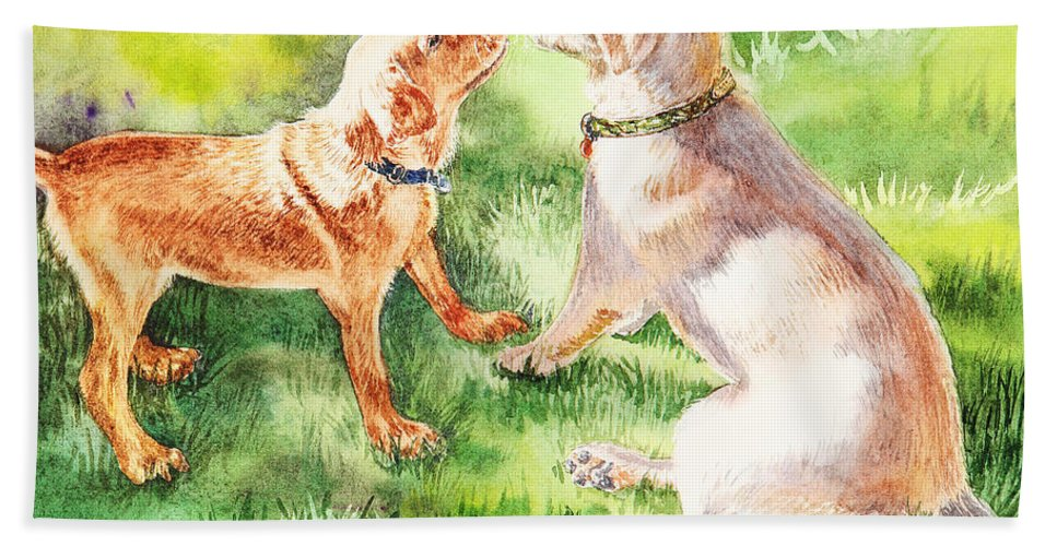 Puppy Bath Towel featuring the painting Two Brothers Labradors by Irina Sztukowski