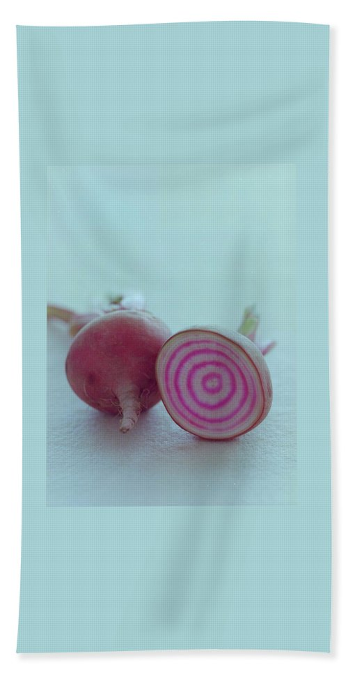 Beet Bath Towel featuring the photograph Two Chioggia Beets by Romulo Yanes