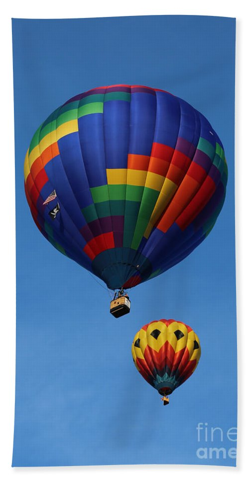 Balloons Bath Sheet featuring the photograph Two Colorful Balloons by Carol Groenen
