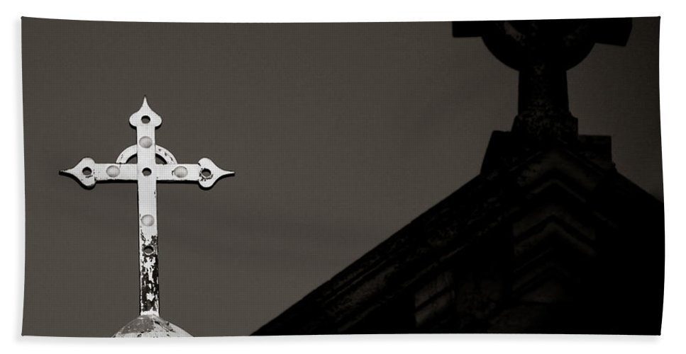 Jerusalem Bath Sheet featuring the photograph Two Crosses In Jerusalem In Black And White by Anthony Doudt