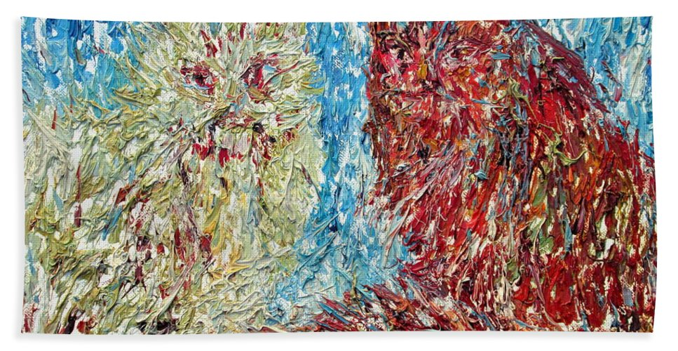 Cat Hand Towel featuring the painting Twelve Passionate Months Led In A Day Of Fate by Fabrizio Cassetta