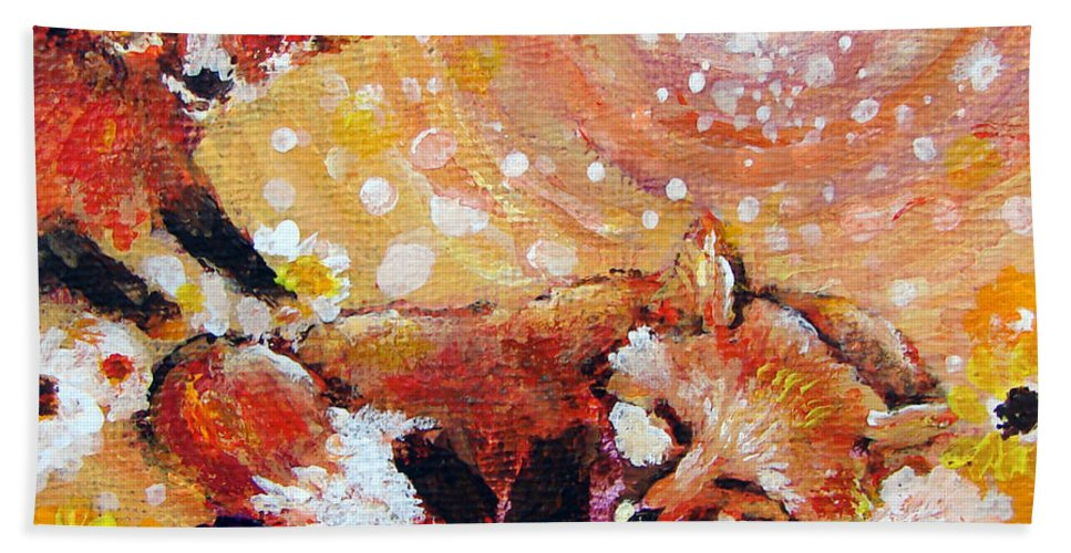 Fox Bath Sheet featuring the painting Two Foxes You Have A Friend In Me by Ashleigh Dyan Bayer