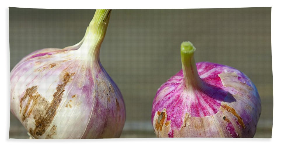 Image Bath Sheet featuring the photograph Two Fresh Garlics by Jan Brons