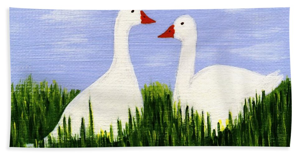Geese Hand Towel featuring the painting Two Geese by Barbara Moignard