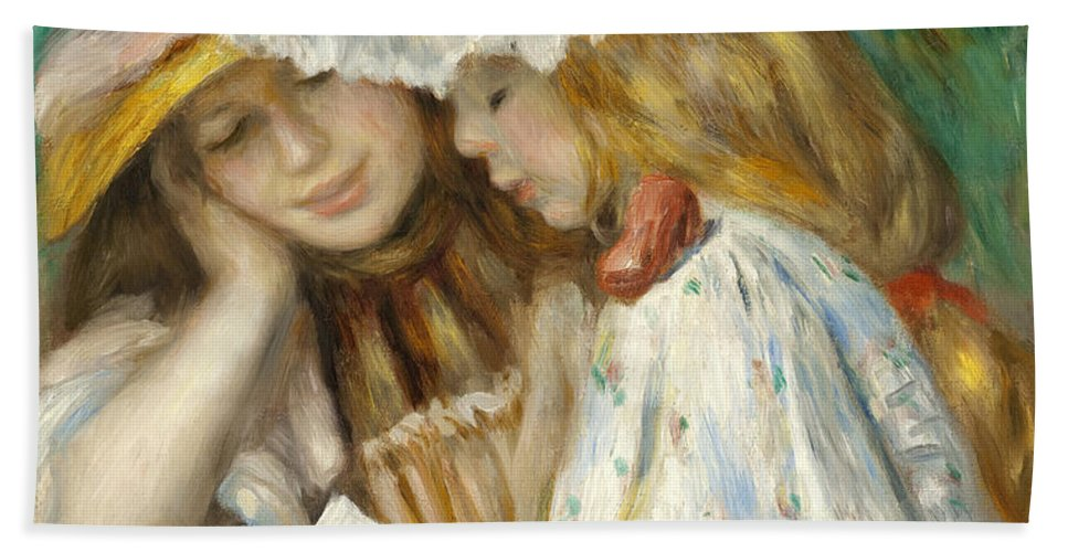 Pierre-auguste Renoir Hand Towel featuring the painting Two Girls Reading by Pierre-Auguste Renoir