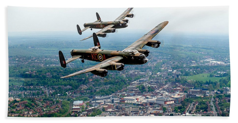 Two Lancasters Bath Sheet featuring the digital art Two Lancasters Over High Wycombe by Gary Eason