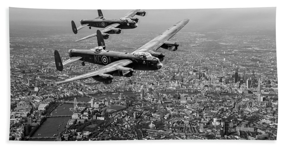 Two Lancasters Bath Sheet featuring the digital art Two Lancasters Over London Black And White Version by Gary Eason