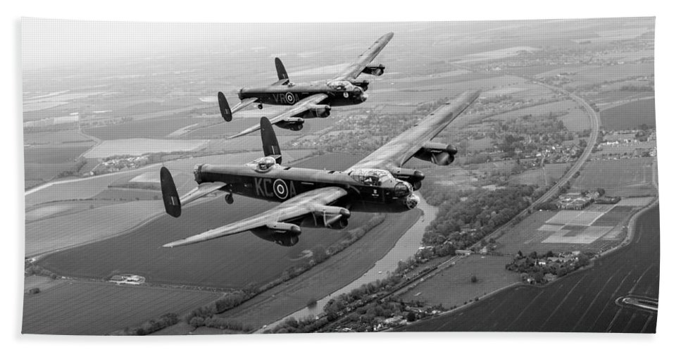 Two Lancasters Bath Sheet featuring the digital art Two Lancasters Over The Upper Thames Black And White Version by Gary Eason