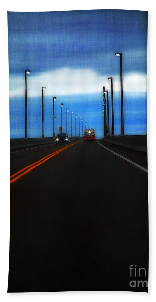 Cars Hand Towel featuring the painting Two-lane Blacktop by RC DeWinter