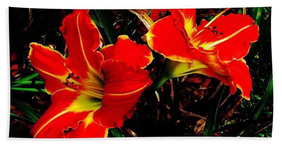 Red Bath Sheet featuring the photograph Two Lilies by Lizi Beard-Ward