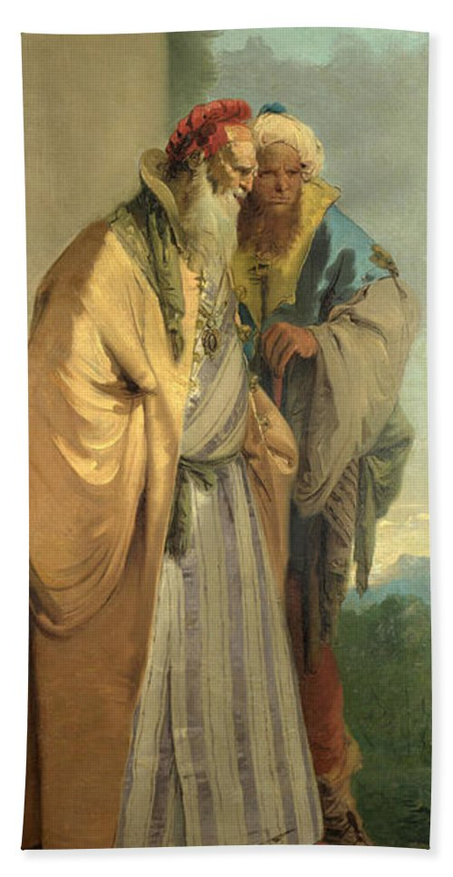 Giovanni Battista Tiepolo Hand Towel featuring the painting Two Men In Oriental Costume by Giovanni Battista Tiepolo
