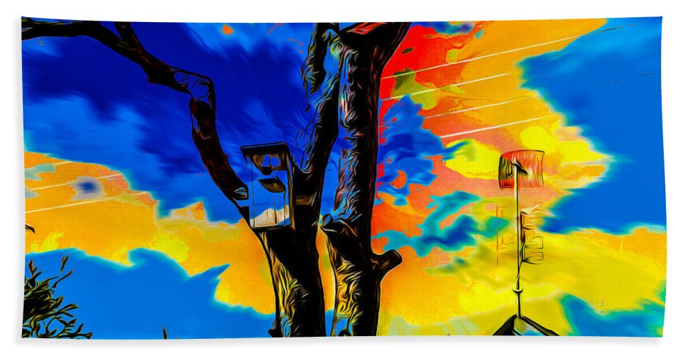 Nature Hand Towel featuring the digital art Two Nesting Boxes by Algirdas Lukas