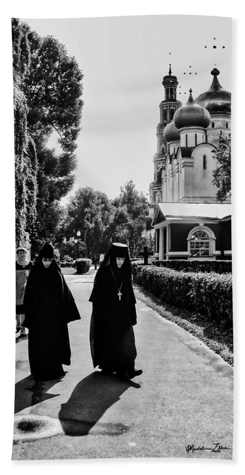 Moscow Bath Sheet featuring the photograph Two Nuns- Black And White - Novodevichy Convent - Russia by Madeline Ellis