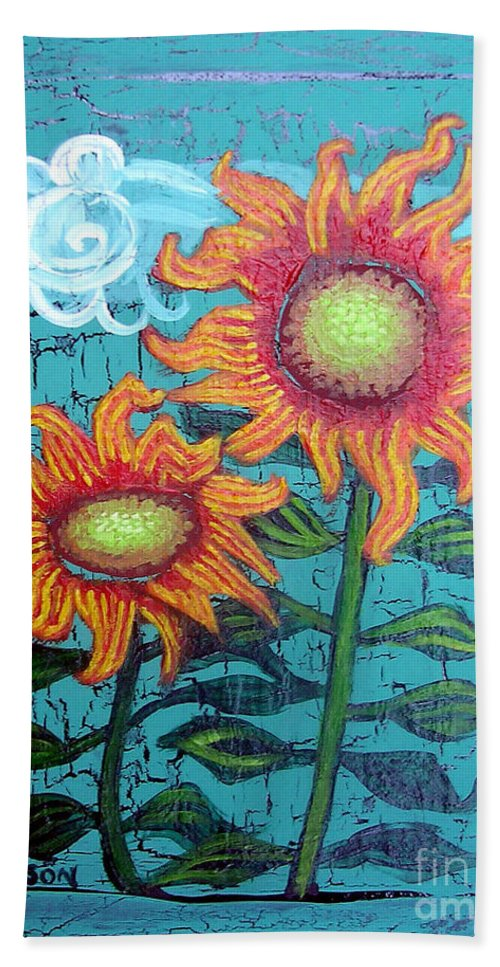 Sunflower Hand Towel featuring the painting Two Orange Sunflowers by Genevieve Esson