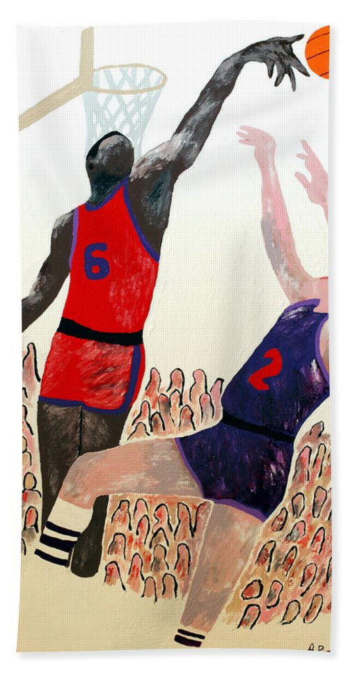 Basketball Bath Sheet featuring the painting Two Points by Andrew Petras