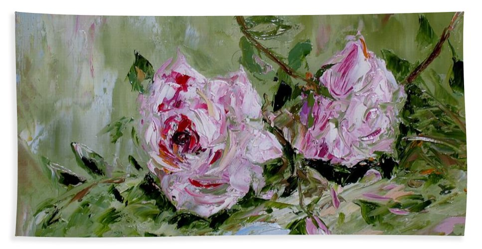 Nature Pink Roses Two Oil On Canvas  alina Khlupina Fine Art Hand Towel featuring the painting Two Roses by Galina Khlupina