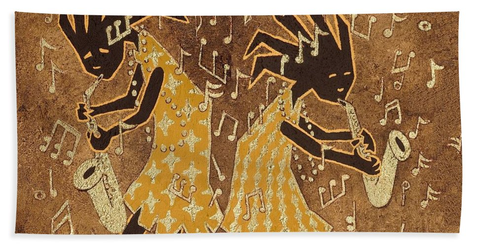 Print Hand Towel featuring the painting Two Sax Players by Katherine Young-Beck