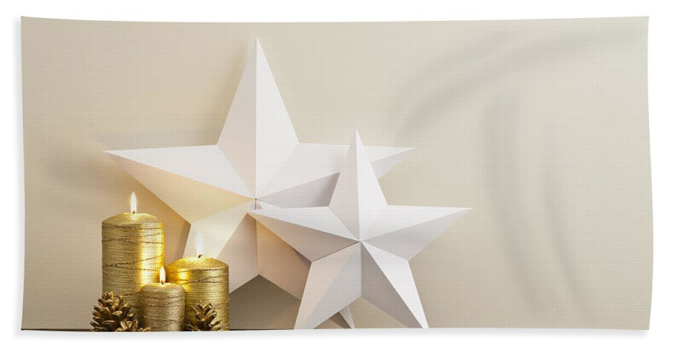 Advent Bath Sheet featuring the photograph Two Stars With Golden Candles by U Schade