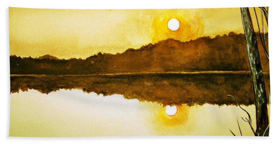 Watercolor Bath Towel featuring the painting Two Suns by Brenda Owen