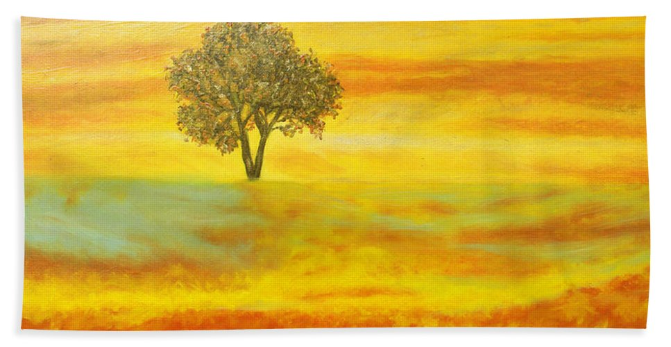 Augusta Stylianou Hand Towel featuring the painting Two Sunsets In Limassol by Augusta Stylianou