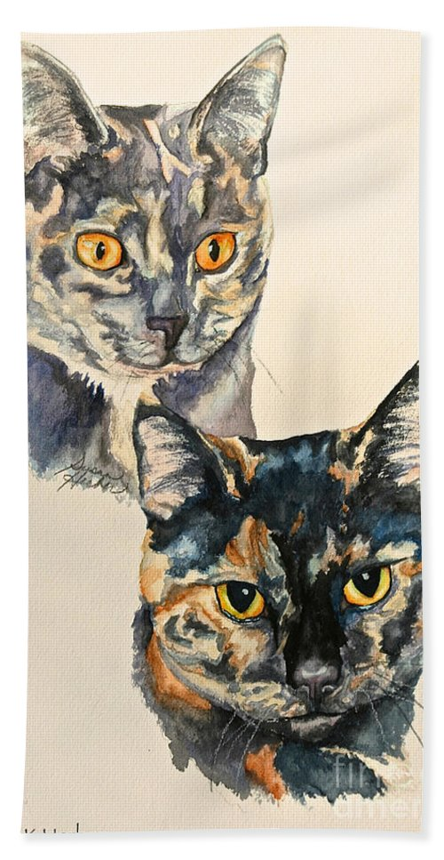 Cat Bath Sheet featuring the painting Two Torti's by Susan Herber