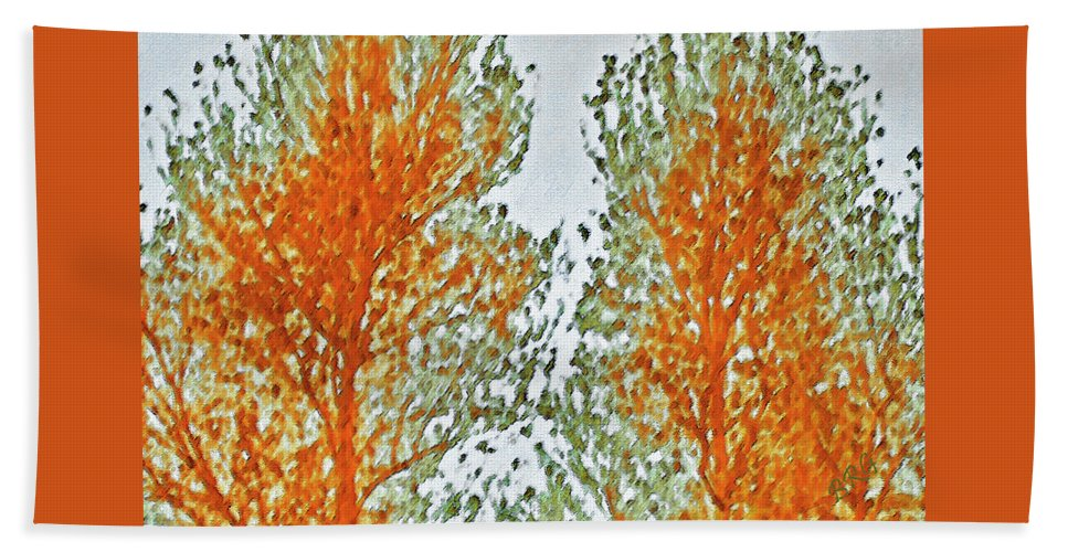 Autumn Leaves Hand Towel featuring the photograph Two Trees by Ben and Raisa Gertsberg