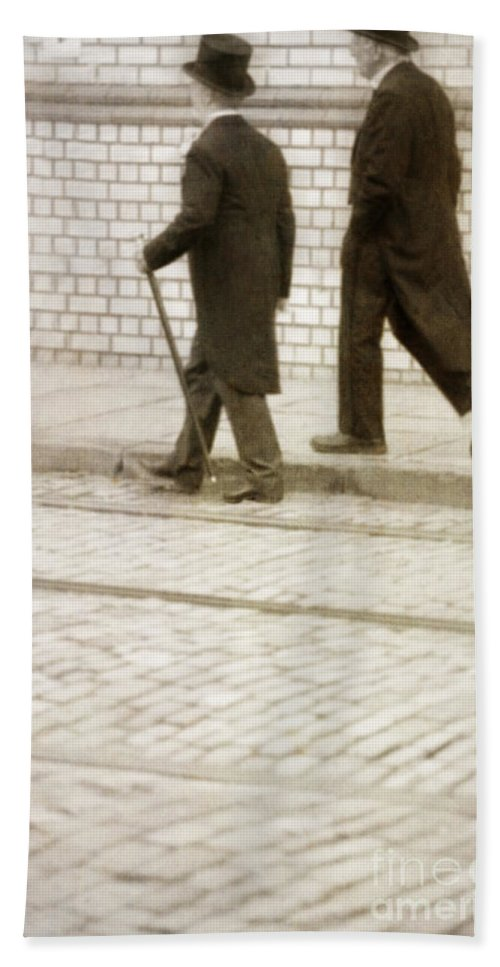 Victorian Bath Sheet featuring the photograph Two Victorian Men Walking by Lee Avison