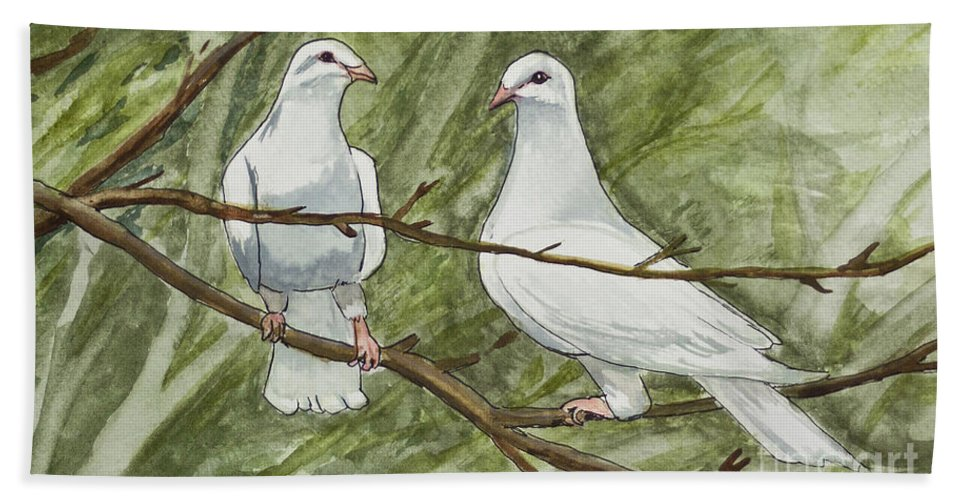White Bath Sheet featuring the painting Two White Doves by Janis Lee Colon
