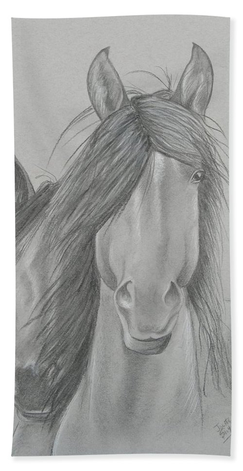 Charcoal Drawing Hand Towel featuring the painting Two Wild Horses by Joette Snyder