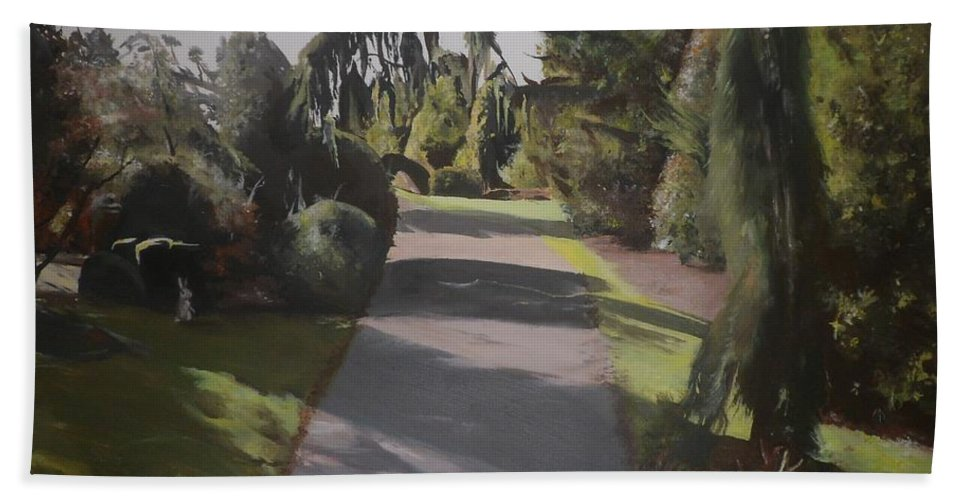 Landscape Bath Sheet featuring the painting Two's Company by Cherise Foster