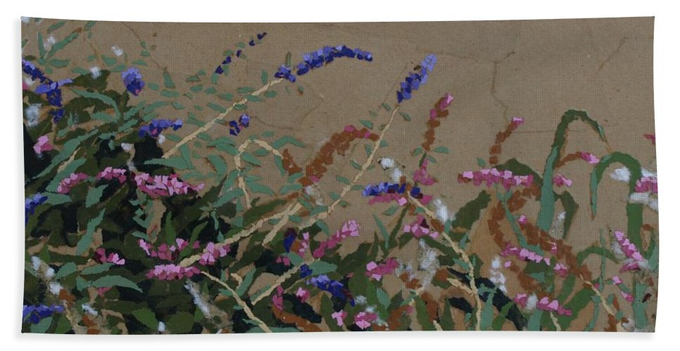 Flowering Butterfly Bush Bath Sheet featuring the painting Tyler by Leah Tomaino