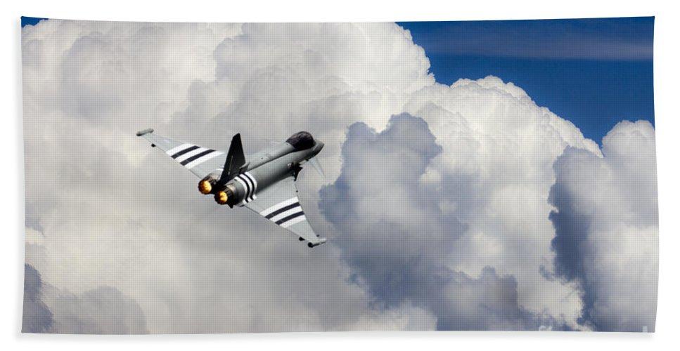 Raf Typhoon Hand Towel featuring the digital art Typhoon Fighter by J Biggadike