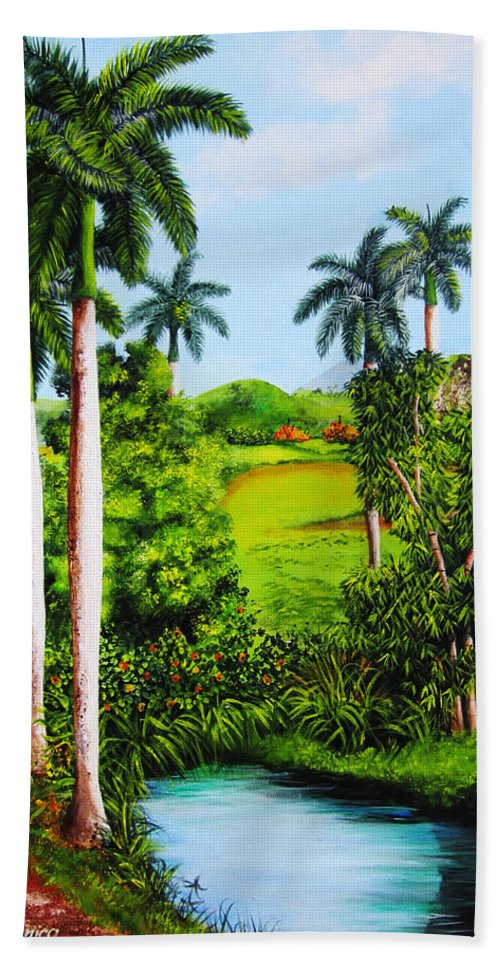 Matanzas Bath Sheet featuring the painting Typical Country Cuban Landscape by Dominica Alcantara