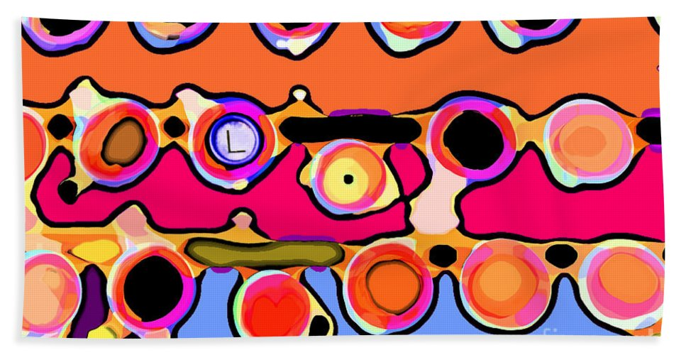 Abstract Bath Sheet featuring the digital art Typing by Gwyn Newcombe