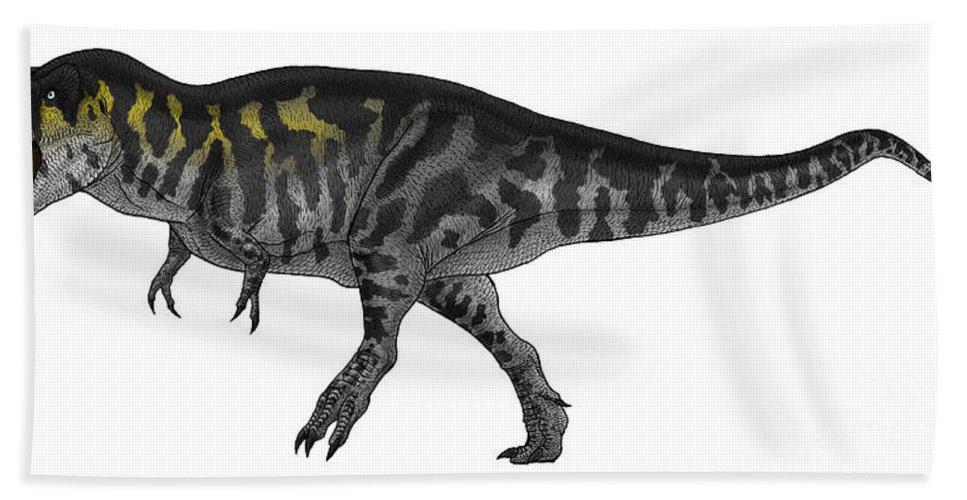 Sauropsid Hand Towel featuring the digital art Tyrannosaurus Rex, A Large Predator by Vitor Silva