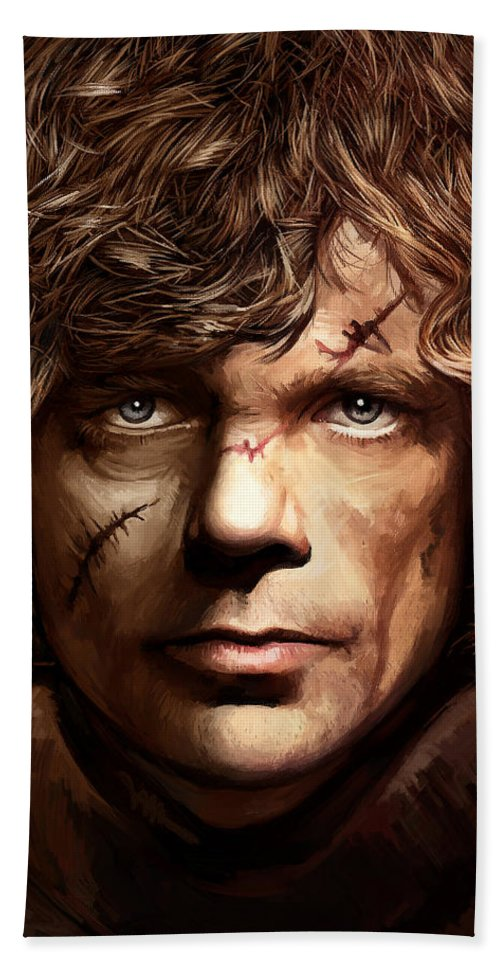 Tyrion Lannister Paintings Bath Sheet featuring the painting Tyrion Lannister - Peter Dinklage Game Of Thrones Artwork 2 by Sheraz A