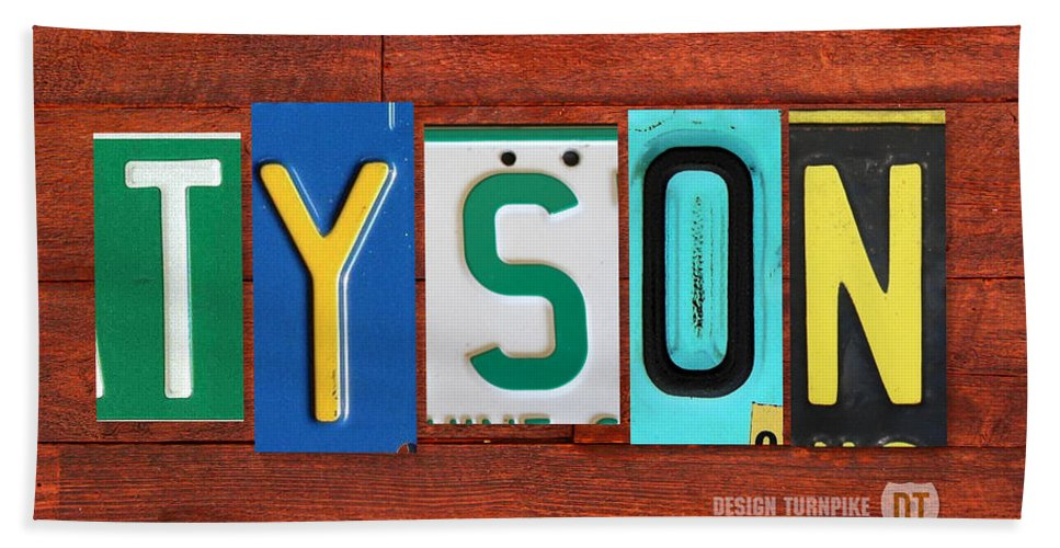 License Hand Towel featuring the mixed media Tyson License Plate Name Sign Fun Kid Room Decor by Design Turnpike