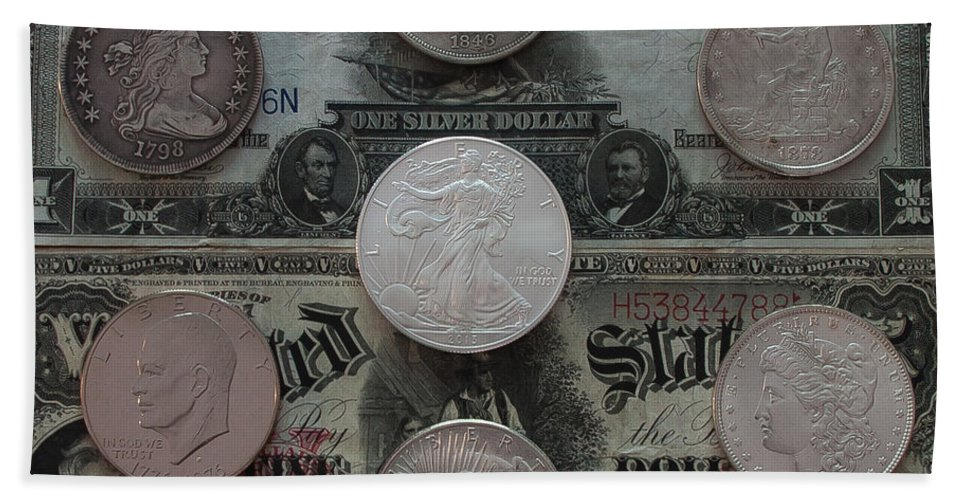 American Coins Bath Sheet featuring the photograph U S History Of Silver Dollars by Steve Clough