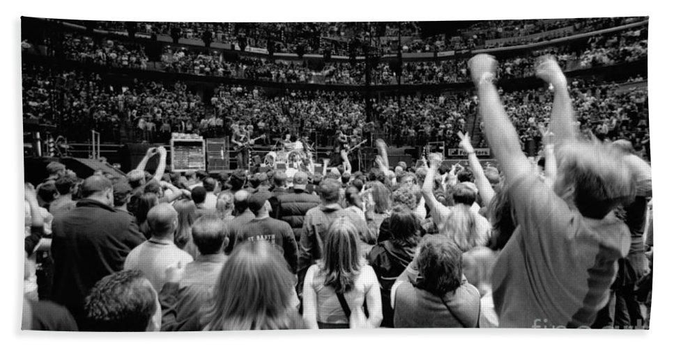 Bono Bath Sheet featuring the photograph U2-crowd-gp13 by Timothy Bischoff