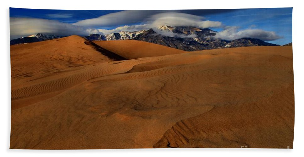 Great Sand Dunes National Park Hand Towel featuring the photograph Ufos Over Sand Dunes by Adam Jewell
