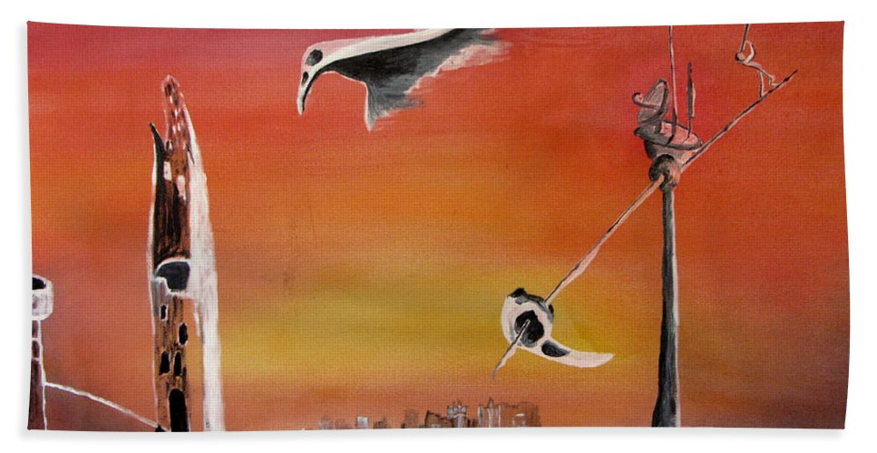 Uglydream Hand Towel featuring the painting Uglydream911 by Helmut Rottler