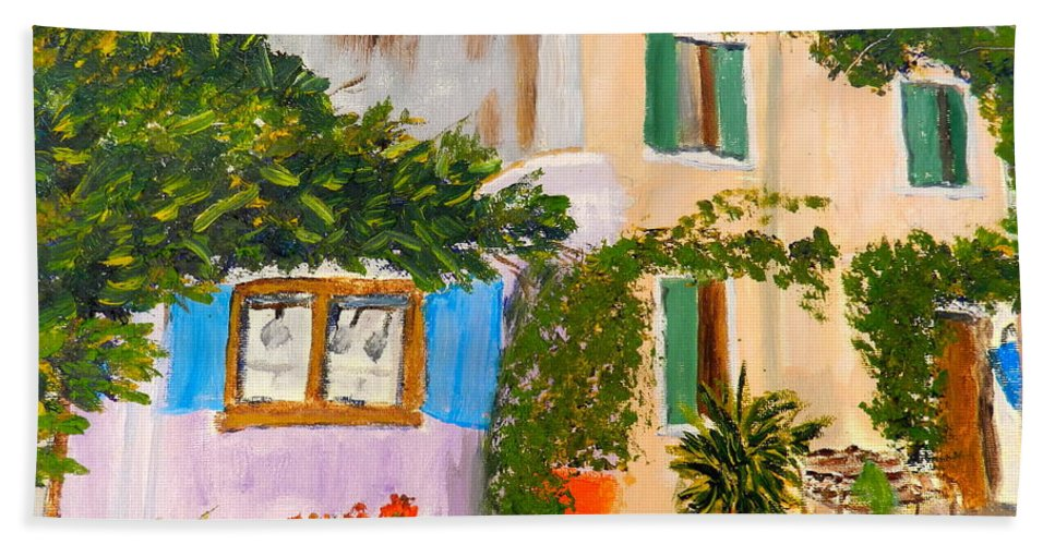 Impressionism Bath Sheet featuring the painting Umbera Courtyard by Pamela Meredith
